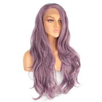 Xtrend synthetische Spitze-Front-Perücke Lange Rosa Lila Orange Grün Weiß Perücken für schwarze Frauen-Wellen-Haar weiblich Peruca Curly Kupfer