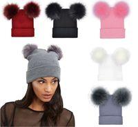 Женщины Двойной искусственного меха Pom Pom Beanie Hat Женская дизайнер Bonnet Шапки женские зимние громоздкая Beanie подарки высокого качества Повседневный Cap New Fashio