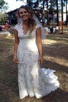 2020 País de boda vestidos de cuello en V mangas cap piso de longitud vestidos de encaje vaqueras Alto Bajo sin respaldo de novia vestidos de boda