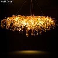 lujoso luz de cristal de la lámpara pendiente moderna popular del color oro G9 de cristal de la lámpara por Rectangl restaurante Hotel Proyecto pasillo vestíbulo