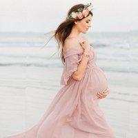 Материнство Фотография Реквизит Беременность платья для Фотосессии плеча беременного платья для женщин Макси платья для беременной ткани