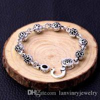 Brand new 925 jóias de prata esterlina moda flor de cerejeira projeto antigo prata hand-made designer pulseiras para homens e mulheres