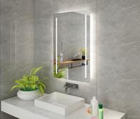 Montagem de parede Diyhd LED backlit iluminado espelho do banheiro vaidade deger 2 luzes verticais espelho de luz de toque retangular