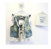 Wholesale Girl Cardigan Blue - Children Lace Cardigan vest Summer Sleeveless Coats Kids Blue Denim Waistcoat Outwear Girls Cute Lace Waistcoats