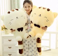 "Wholesale White Cat Tail - Wholesale-18"" 45CM Include Tail Cute Plush Stuffed Toys Cushion Fortune Cat Doll High 13'' for children christmas gift"