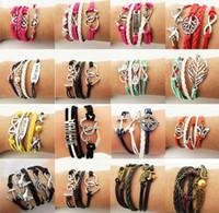 mädchen lederarmbänder zum verkauf großhandel-Günstige Unendlichkeit Armbänder zum Verkauf Modeschmuck Leder Infinity-Charme-Armband Vintage-Schmuck Großhandel Discount - 0025DR