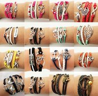 Wholesale Leather Stainless Steel Clasps - Hot Sale Leather Bracelets Special Offer Fashion Infinity Owl Anchor Love Bracelet For Women Girl Jewelry Wholesale Free Shipping 0025DR