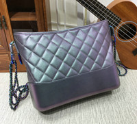 Wholesale Hobo Crossbody - 2018 Winter Women's iridescent Gabrielle Hobo Bag Rainbow Chain 93824 HOBOS Lady Genuine Calfskin Leather Shoulder Bag Crossbody Bags