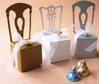 Wholesale Silver Chair Wedding Favor - 100pcs Chair Wedding Party Baby Shower Favor Gift Ribbon Paper Candy Box Boxes