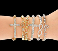 Wholesale Rhinestone Crystal Crosses Beaded Bracelet - Hot Selling Fashion Women's Crystal Rhinestone Cross Love Infinity Stretch Beaded bracelets & bangles Gift Gold Silver Beaded bracelets