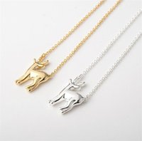 Wholesale Deer Stag - 10pcs lot Gold Silver Cute Bambi Deer Woodland Fawn Necklace Simple Antler Deer Reindeer Horn Stag Necklaces Jewelry N59
