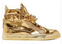 Wholesale Hip Hop High Top Sneakers - Top Brand Designer Zapatos Hombre Round Toe Men Hip Hop Sneakers Gold Chains Men Casual Shoes High Top Sneakers XZ06