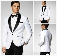 Wholesale Morning Suit White - 2016 handsome Hot Selling Groom Tuxedos White Black Mens Wedding Suits Groomsmen Tuxedos Slim Fit Formal Morning Suits (Jacket+Pants