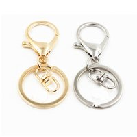 fecho do anel chave venda por atacado-Prata / ouro biger lagosta fecho tom chaveiros anéis chave rodada divisão chaveiro chave do carro anéis de metal em branco chaveiros chave acessórios
