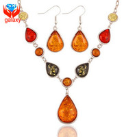Wholesale Natural Amber Necklaces - Luxury Multicolor Natural Amber Stone Water Drop Jewelry Sets 18K White Gold Plated Fashion Necklace Earrings Set for Women ZS25