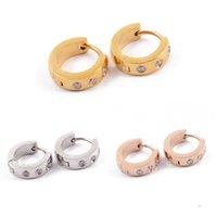 Wholesale Crystal Earring Hoop Steel - Fashion Small Rhinestones Circle Earrings Steel Silver Rose Gold Crystal Half Circle Earrings For Men Women