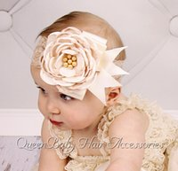 Wholesale Double Headband Plastic - Double Color Satin Flower Matching Sparking Pearls Headband Lace Vintage girl Headband Girl Couture Headband 30pcs lo