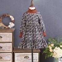 Wholesale Chiffon Turtleneck Dress - Winter girls velvet thicken chiffon dress children floral printed falbala princess dress kids ruffle high collar warmer pleated dress R1369