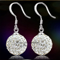 Wholesale Shamballa Drop Silver Earrings - Top quality 925 sterling silver fashion jewelry Crystal Shamballa drop earrings for women free shipping birthday gift