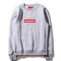 Wholesale Sweaters Hood Men - Justin Bieber LOGO Superman Round neck box sweater men plus velvet head lovers Men's hoods kanye long-sleeved sweater hooded