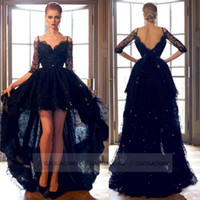 célébrité de la dentelle noire achat en gros de-Sexy Black Lace Hi Lo Formelle Soirée Robes De Bal D'épaule Dos Nu À Manches Longues Plus La Taille Celebrity Robes De Soirée Arabe Personnalisé 2019