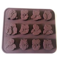 Wholesale Muffin Cutter - 1x High Quality Silicone Cake Cookie Chocolate Candy Muffin Mould Baking Tray Cute Owl Mold Free Shipping