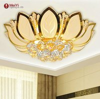 Wholesale Lotus Flower Ceiling Light - Lotus Flower Modern Ceiling Light With Glass Lampshade Gold Ceiling Lamp for Living Room Bedroom lamparas de techo abajur