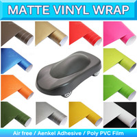 Wholesale Matte Decals - Frosted Matte Vinyl Car Wrap Film Matte Black Car Decals Car Wrapping Vinyl Stickers Sheet Roll Bubble Air Free 1.52x30m 5x95Ft