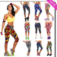 Wholesale Wholesale Women S Sportswear - 2015 Women gym sports leggings fitness pants 27 styles 3D Printed Sportswear Leisure Legging sport Pants S387M