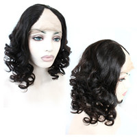 Wholesale Hand Tie Wig Caps - Brazilian Hair U Part Lace Front Wigs Body Wave Curl Remy Human Hair Wigs Weave Top Mink Hair Lace Wig Medium Cap Density 130%