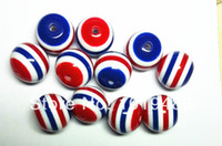 Wholesale Striped Chunky Resin Beads Bracelet - Wholesale-Free shipping! NEW 100pc lot red and white and royal blue 20mm striped resin beads for chunky necklace and bracelet