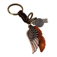 Wholesale Retro Leather Key Chain - 2016 New Rushed Metal Feather Factory Outlets Punk Leather Key Rings Jewelry Retro Atmosphere Chain Alloy Wings Men's Braided Keychain