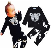 Wholesale T Ox - Retail INS Boy Clothing Set High Quality Baby Girl Clothes Letter Bear Head Long T-shirt+OX Letter Pants 2pcs Set Brand Kids Clothing Sets