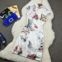 Wholesale Printed Peony Sheath Dress - Traditional Peony Print Floral-Print Chinese Dresses 95% Real Silk Cheongsam Dress Modern Qipao Oriental Sexy Slit Evening Dress Robe HL88