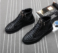 Wholesale Men Causal Style Shoes - 2018 High Quality Fashion Men High Top British Style rivet Shoes Men Causal Luxury Shoes Red Black Bottom rubber Shoes for Male