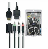 Wholesale Headphone Adapter Cable Pin - Wholesale-Monitor HDTV VGA Cable 15 Pin Plug Adapter Headphone Extension Cable for PS3 Wii