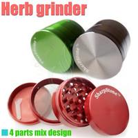 Wholesale Net Stone - Metal herb grinder Sharp Stone 4 parts 50mm herbal cnc teeth herbal filter net dry herb vaporizer pen vaporizers vapor e cigarettes DHL Free