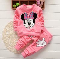 Wholesale Clothes For Girl Minnie - Autumn spring kids suit girl shirt+pant set 2 pieces children long sleeve minnie clothes suit 6 colors for choose