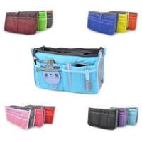 Wholesale Travel Insert Handbag Organiser Purse - Portable Double Zipper Bag Insert liner purse Organiser Handbag Women Travel Purse Pouch Bag in Bag Organizer Cosmetics Storage