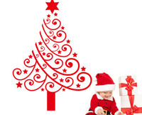 Wholesale Red Nursery Decor - lastest new red Merry Christmas tree 60*42cm pvc environment removable living room home Wall Sticker Decor