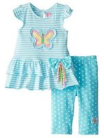 Girl spring addition - rare addition Baby Girls short sleeve blue stripe butterfly set good quality kids girl Birthday gift outfit sets