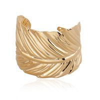 Wholesale Modern Cuff Bracelet - 2015 Fashion Jewelry Modern Gold Tone Leaf Bracelet Golden Metal Alloy Wide Bangle Opened Cuff Bracelet Gift Women Girl B410