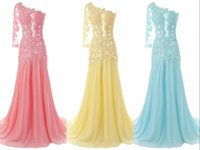 Wholesale Dresses One Sleeve Custom Made - Real Images Cheap One Long Sleeve Mermaid Prom Dresses 2015 Lace Appliques Chiffon Party Evening Dresses Plus Size Prom Gowns Custom Made