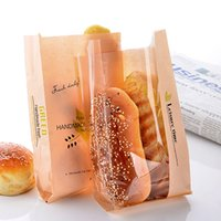 Wholesale Disposable Gift Bags - Disposable Paper Toast Bread Bag Eco Friendly Baking Cake Dessert Packing Bag Party Supplies Gift Wrap SK739