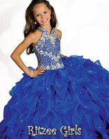 Wholesale Halter Girls Pageant Dresses - 2015 Sequins Little Girls Pageant Dress Beads2015 6682 Halter Ritzee Girls Ball gowns Long Custom Made Party Gowns Kids Flower Girl Dresses
