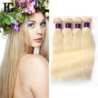 Wholesale Cheap Brazilian Hair Blonde - 613 Blonde Virgin Hair 4Pcs Lot Brazilian Virgin Straight Human Hair Weave Cheap Blonde Brazilian Hair Weave Bundles HC Products