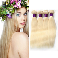 613 Blonde Virgin Hair 4Pcs Lote Brazilian Virgin Straight Cabelo humano Weave Cheap Blonde Brazilian Hair Weave Bundles Produtos HC