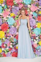 Wholesale Ronald Joyce Strapless - Long Bridesmaids Dresses light Sky Blue Chiffon Bridesmaid Dresses 2016 Curved Neckline Backless Floor-Length Pleats Ronald Joyce 29105