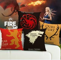 Wholesale Wedding Decorative Sofas - Game of Thrones linen cushion cover Decorative wedding hotels office sofa Throw Pillow Cushion case Home Textiles 17.7x17.7'' drop shipping