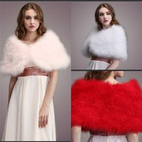 Wholesale Bridal Red Fur Shrug - New Arrival Wedding Fur Wraps White Red Pink Faux Fur Shrugs For Bride Warm Cold Protection Bridal Shawls